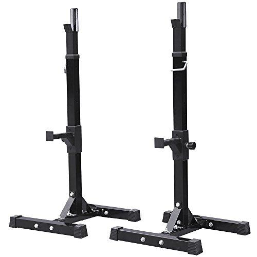 Topeakmart Solid Steel Squat Stands Adjustable Barbell Bench