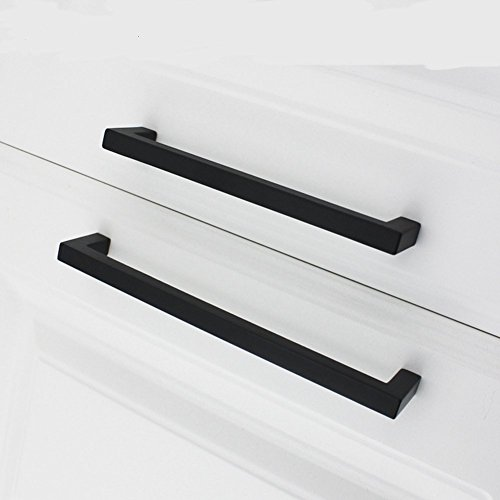 10Pack Goldenwarm Black Square Bar Cabinet Pull Drawer Handle Stainless Steel Modern Hardware for Kitchen and Bathroom Cabinets Cupboard, Center to Center 7-1/2in(192mm) by goldenwarm (Image #4)