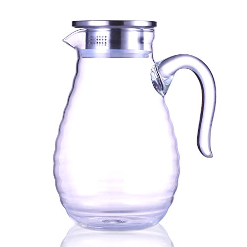 Jiaqi Glass Pitcher With Stainless Steel Lid And Spout