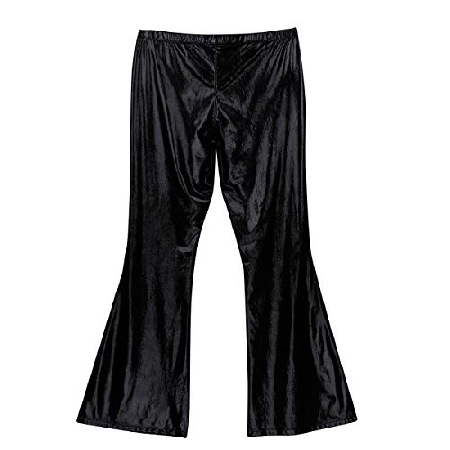 iEFiEL Adult Mens Shiny Metallic 70s Disco Dude Pants Leisure Long Pants Flared Bell Bottom Trousers Costume