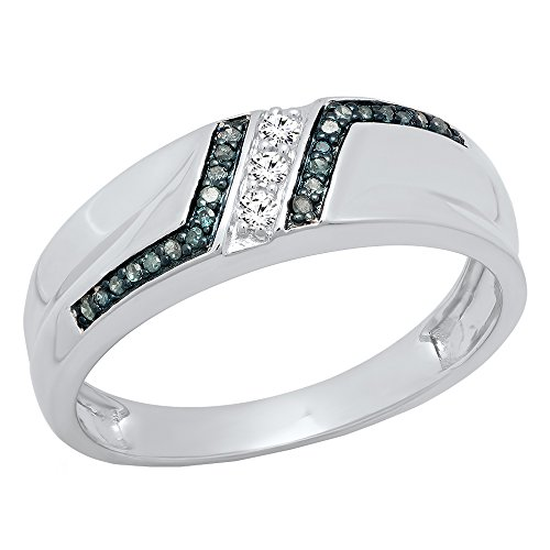 ion 0.20 Carat (ctw) 10K White Gold Round Blue & White Diamond Men's Wedding Band 1/5 CT (Size 10.5) ()