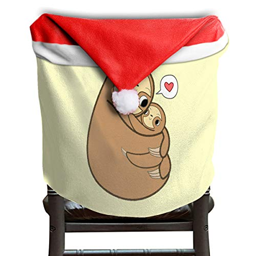 LoveBea Christmas Hat Chair Covers Sloth Chairs Back Cover Slipcovers Kitchen Sets Costume Decor