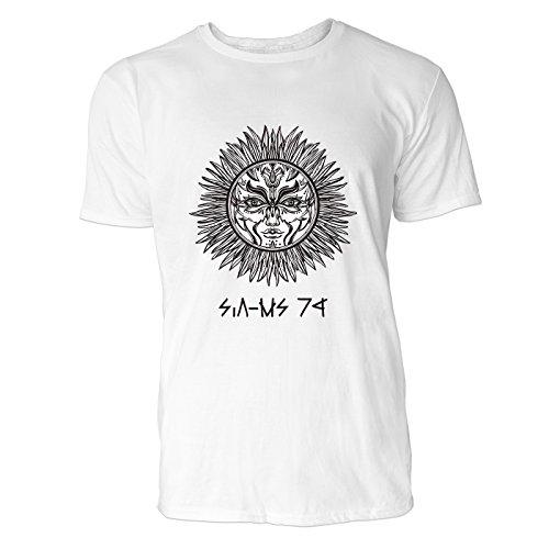SINUS ART® Romantisches Sonnensymbol Herren T-Shirts in Weiss Fun Shirt mit tollen Aufdruck