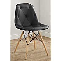 WE Furniture AZH18PU2BL Faux Leather Chairs, Set of 2, Black