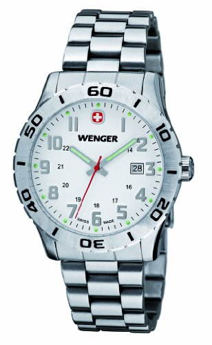 Wenger Grenadier Men's Quartz Watch with White Dial Analogue Display and Silver Stainless Steel Bracelet 010741102
