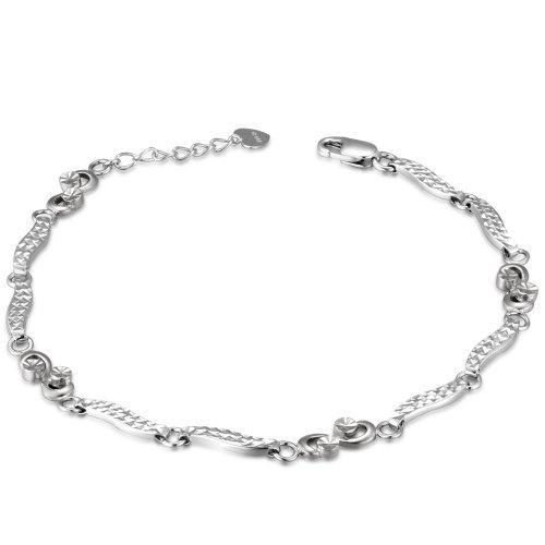 Or blanc 14K Taille diamant infinity Segment Bracelet (6,5')