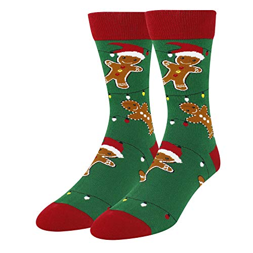 Men's Novelty Crazy Food Crew Socks Funny Cookies Gingerbread Christmas Socks in Green from Zmart