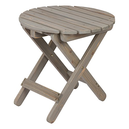 Shine Company Rustic Round Folding Table, Vintage Gray (Table Round Side Adirondack)