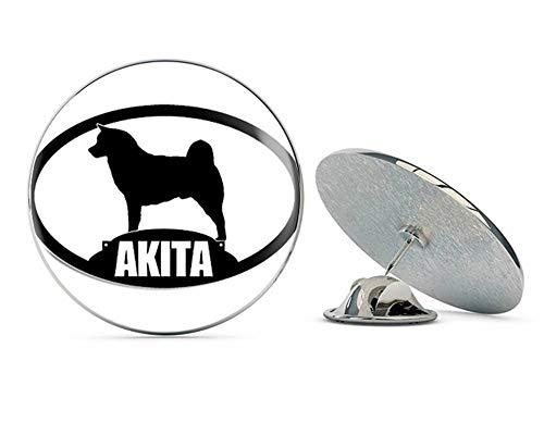 """NYC Jewelers Oval Akita Silhouette (Dog Breed) Metal 0.75"""" Lapel Hat Pin Tie Tack Pinback"""