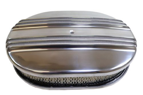 "MotorNets Polished Aluminum Finned Oval Air Cleaner Kits Breather Paper Washable Element 12"" 15"" Nostalgic Single Quad 5-1/8 Neck (12"" x 2"", Paper Element)"