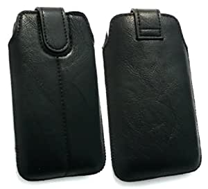 Emartbuy ® Negro Pu Cuero Slide Con Seguridad En La Bolsa / Caja / Manga / Soporte (Tamaño 1) Con Mecanismo Pull Tab Adecuada Para Blackberry 9860 Torch