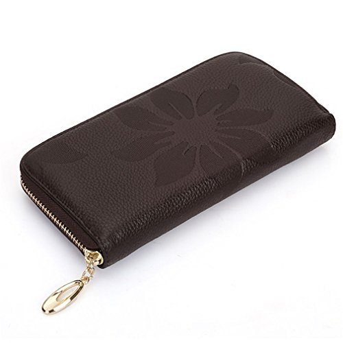 Genuine Soft Leather Long Purse Women Wallet First Layer Of Cowhide Female Zipper Flower Wallets by WUDEF
