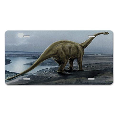 Old Hill Print (Style in Print Brachiosaurus In The Hill Old Poster Car Aluminum License Plate)