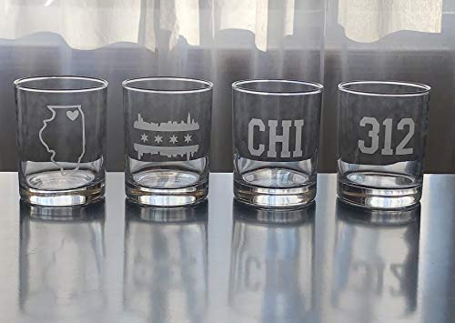 Chicago Rocks Glasses Gift Set- 4 Double Rocks Glasses - Chicago - Illinois - Chicago Whisky - Barware - Bourbon - Chicago Gift