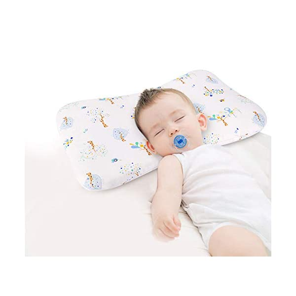 Shinnwa Toddler Bed Pillow 100% Cotton Mini Small Child Infant Baby Crib Pillow for Kids Sleeping with Breathable Pillowcase & Dupont Sustans Filling (19.5 x 11 x 1.2 Inches, White)