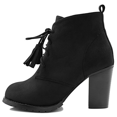 Tassel Womens Booties Allegra K Lace Booties Black K Up Ankle Up Womens Ankle Tassel Lace Allegra ztqqSRT