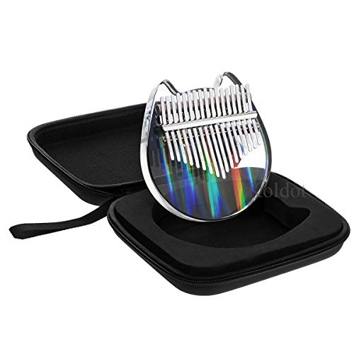 Rainbow Clear Kalimba Thumb Piano Cat Shaped 17 Key Solid Finger Piano Transparent Body Cute Crystal Acrylic Kalimba With Hard Case Gifts for Kids Adult Beginners with Tuning Hammer
