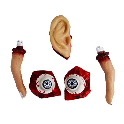 LUOEM Chopped Human Parts Scary Bloody Fingers Ear and Eyeballs Halloween Party Decorations Prop Halloween Costumes Party (Really Gory Halloween Costumes)
