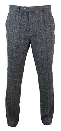 Cavani Mens Herringbone Tweed Vintage Retro Check Wool Trousers Peaky Blinders Classic Charcoal-Grey-Albert 30