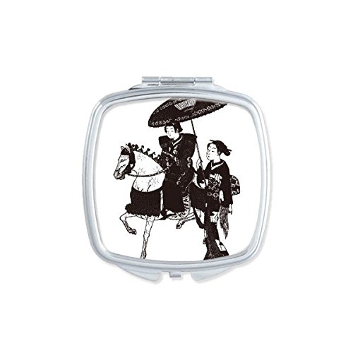 (Japan Traditional Culture Black Kimono Women Riding Horse Umbrella Line Drawing Sketch Japanese Style Art Illustration Square Compact Makeup Pocket Mirror Portable Cute Small Hand Mirrors)