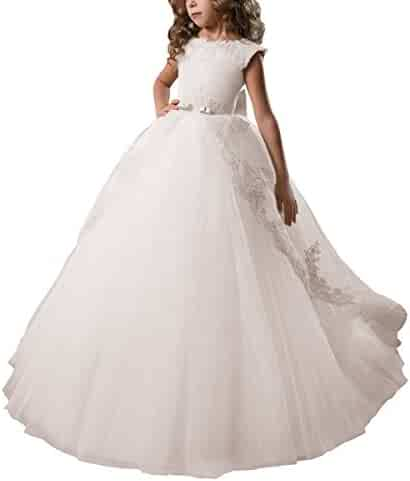 ceccba08366 AbaoSisters Flower Girl Dress Fancy Tulle Satin Lace Cap Sleeves Pageant Girls  Ball Gown White Ivory
