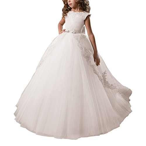 AbaoSisters Fancy Flower Girl Dress Satin Lace Pageant Ball Gown (6, -