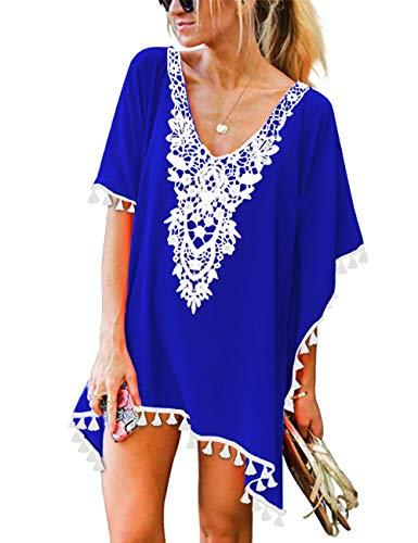 CPOKRTWSO Women's Sexy Chiffon Swimsuit Cover Ups Sheer Bikini Plus Blouse Royal Blue S/M (Royal Bikini)