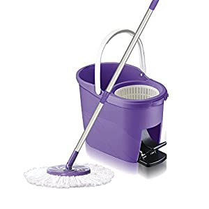 White Magic Foot Press 360 Spin Mop Bucket System + Microfiber head+ Extendable Handle