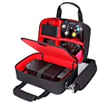 USA Gear Gamecube Controller Case - Nintendo Switch Carry Case with Custom Storage Compartments for Gamecube Controller, Adapter, Pro-Controller and More - Shoulder Strap and Padded Interior - Red