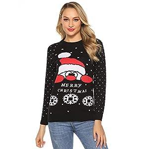 Abollria Pull Moche de Noël Joyeux Christmas Imprimé Flocon de Neige Tricot Manches Longues Le Père Noël Top Pull…