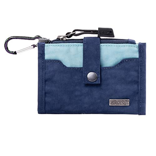 GOX Premium Zippered Coin Pouch Card Purse Change Holder ID Small Bag With Carabiner (Navey Blue)