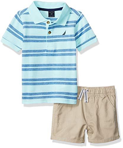aby Boys 2 Pieces Polo Shorts Set Stripe Aqua 3-6 Months ()