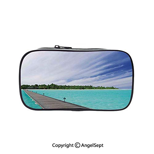 (Big Capacity Pencil Case 1L Storage,View from a Deck at Tropical Island with Exotic Hawaii Sky Landscape Artprint Turquoise Brown Green 5.1inches,Desk Pen Pencil Marker Stationery Organizer with Zipp)