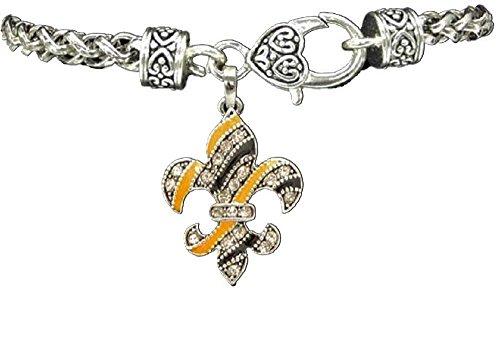 NEW ORLEANS SAINTS Fleur de Lis Black & Gold Crystal Rhinestone Charm Bracelet. Celebrate Drew Brees,NOLA, our Who Dat Culture!!