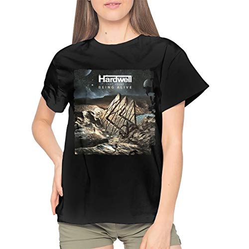 Hardwell Being Alive Women's Cotton T-Shirt Casual Short Sleeve Top XXL Black -