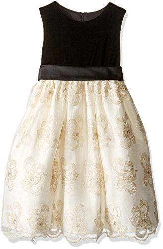 American Princess Little Girls' Toddler Velvet Top Embroidered Skirt Holiday Party Dress, Black/Candlelight, 3T (Lined Velvet Fully Skirt)