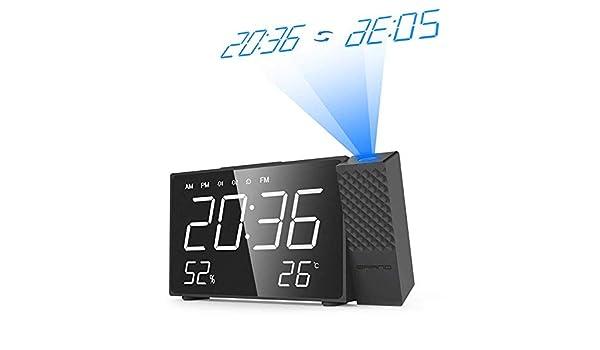 DZXYW Reloj Despertador Proyector Digital Despertador Radio Tiempo ...