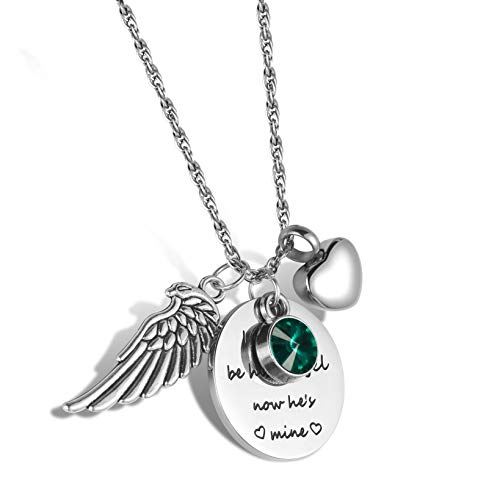 starton I Used to be his Angel, Now He's Mine with Angel Wing Charm Cremation Jewelry Keepsake Memorial Urn Necklace with Birthstone Crystal (May)