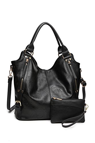 Women Tote Bag Handbags PU Leather Fashion Hobo Shoulder Bags with Adjustable Shoulder Strap (Black)