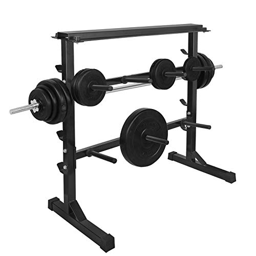 Olympic Weight Plate Barbell Plates Rack Bumper Bar Stand Holder Standard Dumbbell Weights Storage Bench Base Organizer for Home Gym