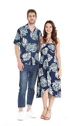 Couple Matching Hawaiian Luau Party Outfit Set Shirt Dress in Navy Palm Leaves Men XL Women M