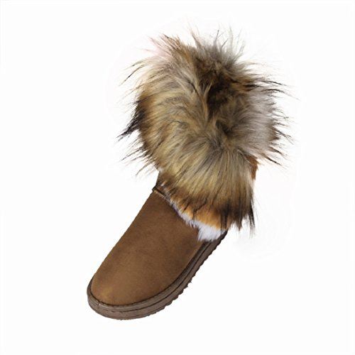 (Fheaven Fashion Women Flat Ankle Fur Lined Winter Warm Snow Shoes Indoor Outdoor Boots (US:9.5, Brown))