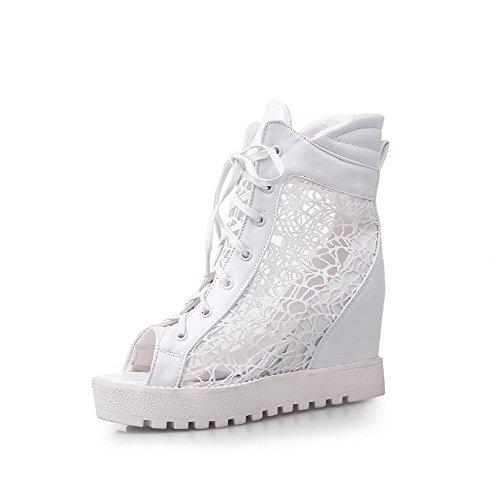 Amoonyfashion Kvinnor Fasta Mjuk Material Kick-häl Slip-peep Sandaletter Vit