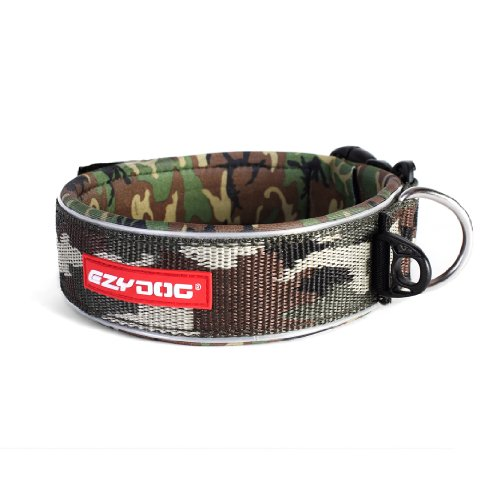 EzyDog Neo Classic Wide Dog Collar, Green Camo, Large