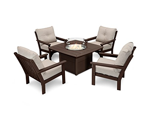Ash Mahogany Table - POLYWOOD Vineyard 5-Piece Conversation Set with Fire Pit Table (Mahogany/Cast Ash)