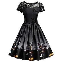 Sumen Halloween Women Retro Lace Cap Sleeve Swing Party Bridesmaid Dress