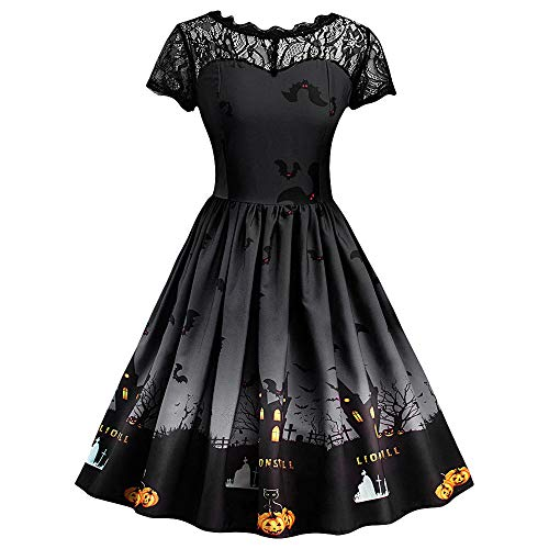 MOKO-PP Women Short Sleeve Halloween Retro Lace Vintage Dress A Line Pumpkin Swing Dress(black,L)