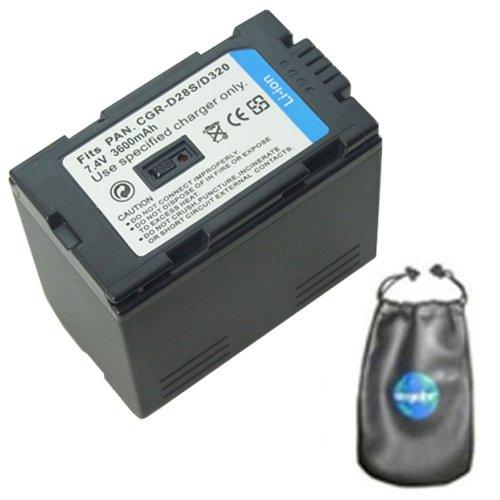amsahr Digital Replacement Camera & Camcorder Battery for Panasonic CGR-D320, CGR-D320A/1B, CGR-D320E/1B, AG: DV1DC, DVC15, DVC30, DVC60, DVC62, EX1EN, EX21, EX21EG - Includes Lens Accessories Pouch
