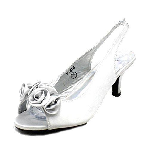 Avec sendit4me Talon Fronde Chaton Mesdames de Fête silver Détail Diamante Chaussures de Satin Dos CCwzFqR