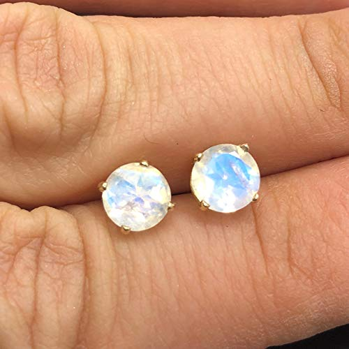 14K Yellow Gold Genuine Rainbow Moonstone Stud Earrings - 14K Solid Gold Moonstone Studs - 6mm Moonstone Crystal Earrings - Diamond Alternative Studs - Yellow Gold Studs (Moonstone Earrings Diamond)